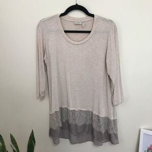 LOGO knit top with lace and satin hem